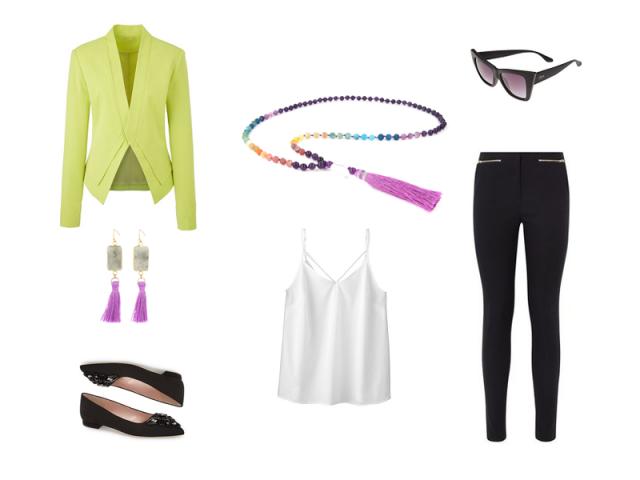 Outfit: Fialovo-žlutá kombinace