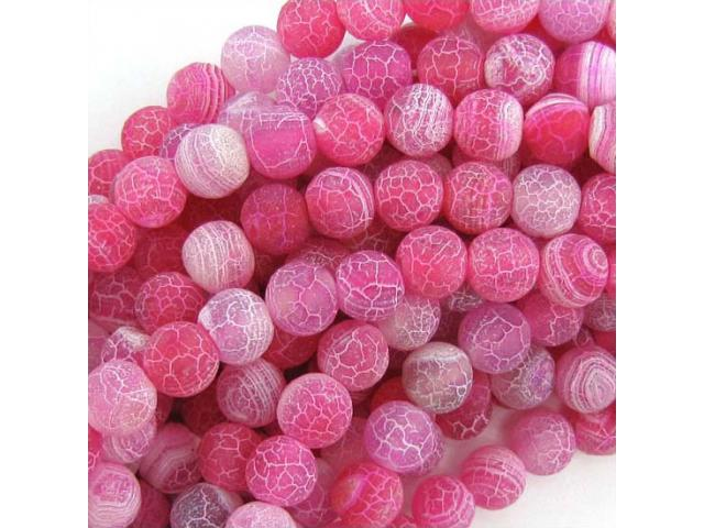 Achát - růžový frost 8 mm