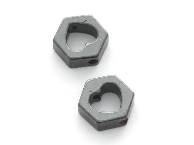 Hematit hexagon a srdíčko 7x6x2,5mm