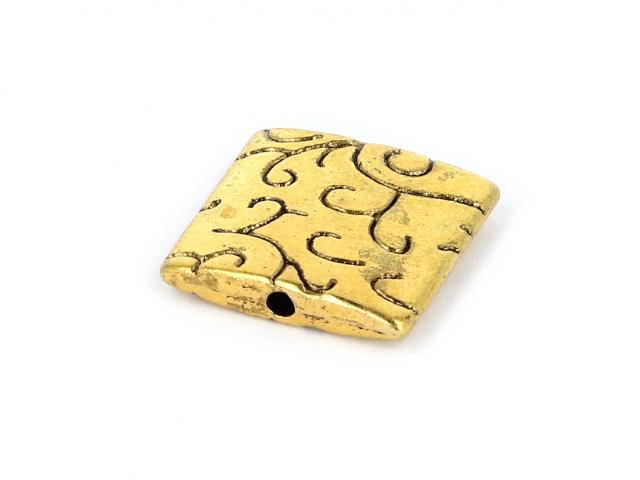 Kovový korálek - čtverec - starozlatý