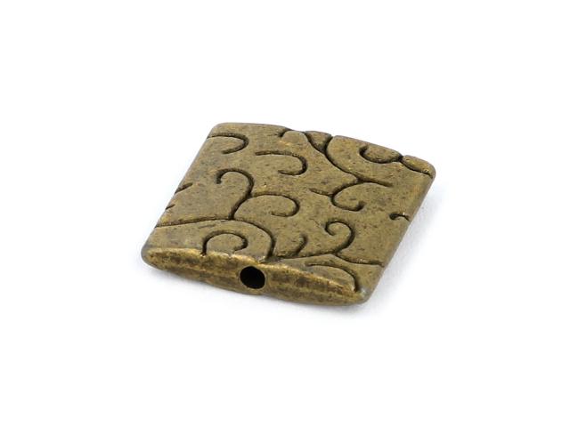 Kovový korálek - čtverec - starobronzový