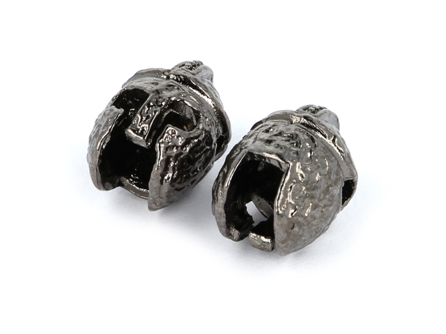 Kovový korálek - přilba - gunmetal