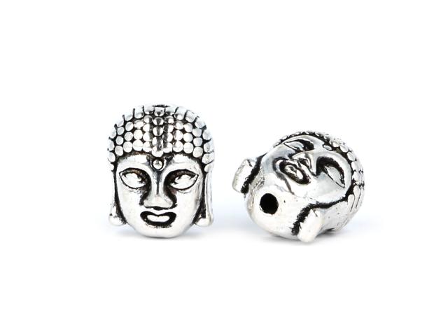 Kovový korálek - hlava Buddhy - starostříbrný