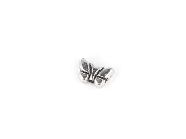 Kovový korálek - motýlek - starostříbrný