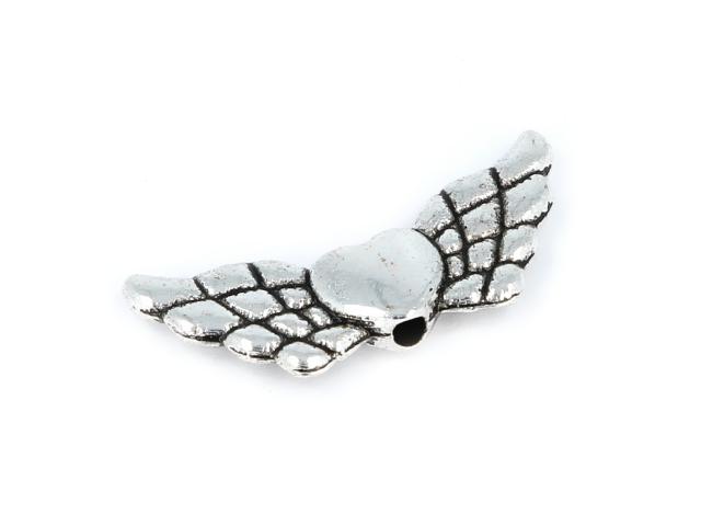 Kovový korálek - srdce a křídla - starostříbrný