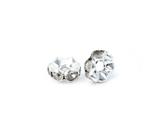 Rondelka s krystalky - stříbrná