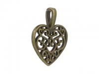 Kovový přívěsek - filigránové srdce - starobronzový