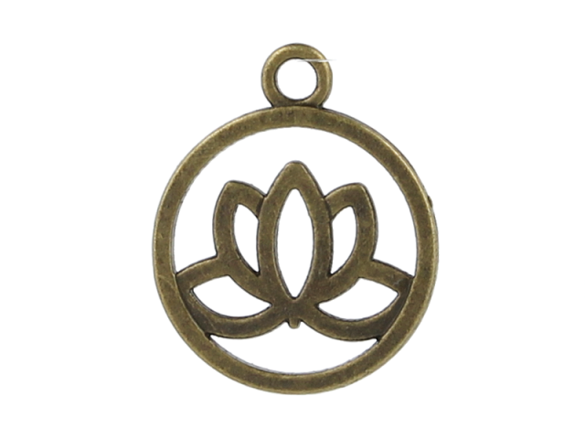 Kovový přívěsek - lotosový květ - starobronzový