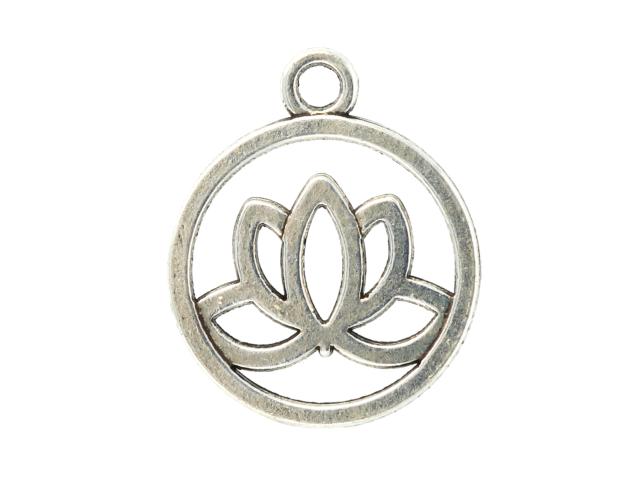Kovový přívěsek - lotosový květ - starostříbrný