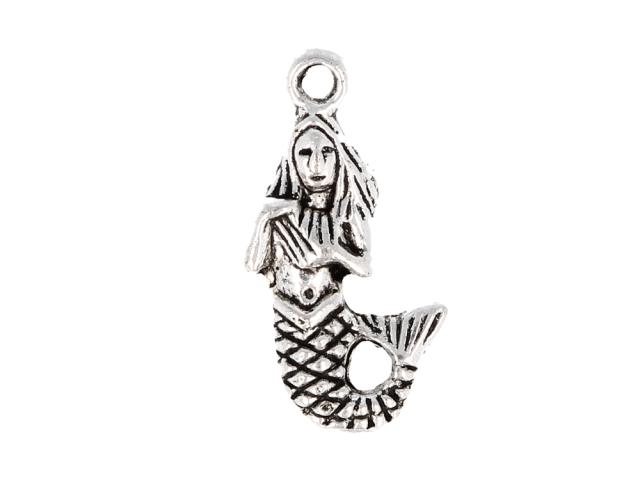 Kovový přívěsek - mořská panna - starostříbrný