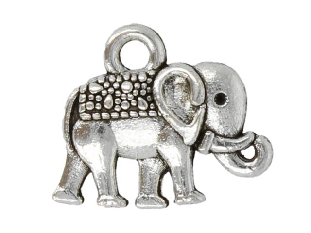 Kovový přívěšek - slon - starostříbrný