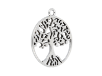 Kovový přívěšek plochý - strom života - starostříbrný