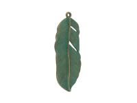 Kovový přívěšek - pírko - antická bronzově zelená