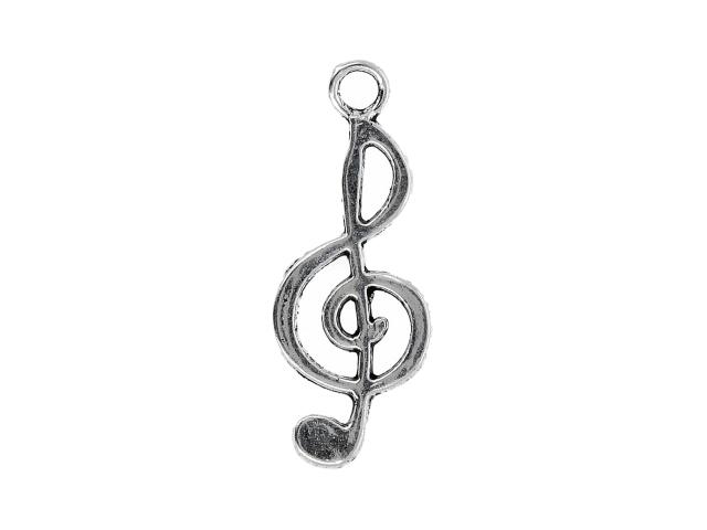 Kovový přívěsek - houslový klíč - starostříbrný