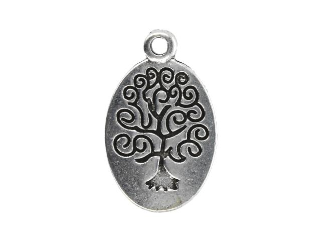 Kovový přívěšek oválný - strom života - starostříbrný