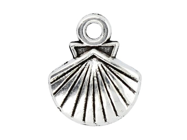 Kovový přívěšek - lastura - starostříbrný