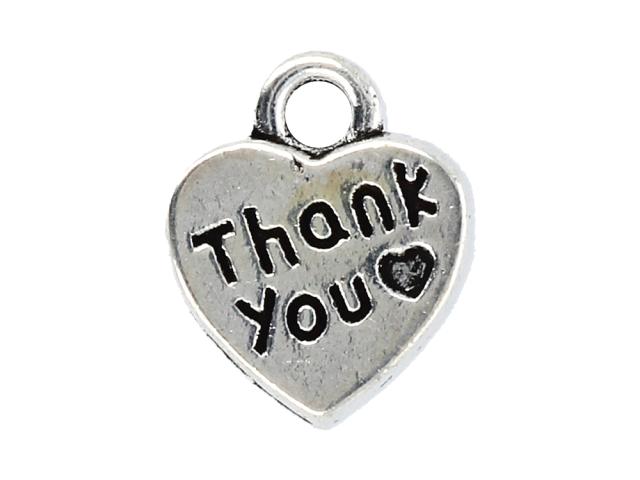 Kovový přívěsek - srdce Thank you - starostříbrný