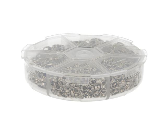 Box - spojovací kroužky dvojité 4-10mm - platinová
