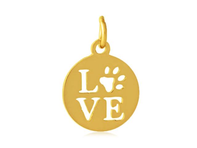 Přívěsek z chirurgické oceli - Pet Love - zlatá