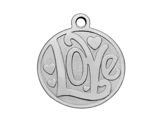 Přívěsek z chirurgické oceli plochý - Love