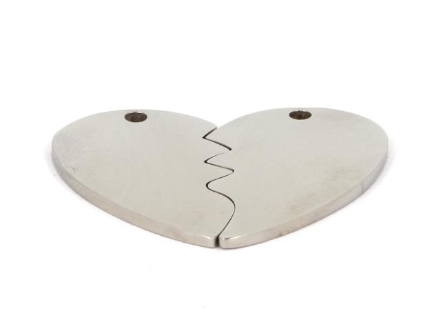 Dvojpřívěsek z chirurgické oceli - rozlomené srdce
