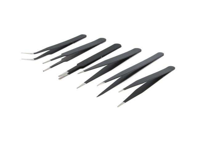 Kovové pinzety - černá (sada 6ks)