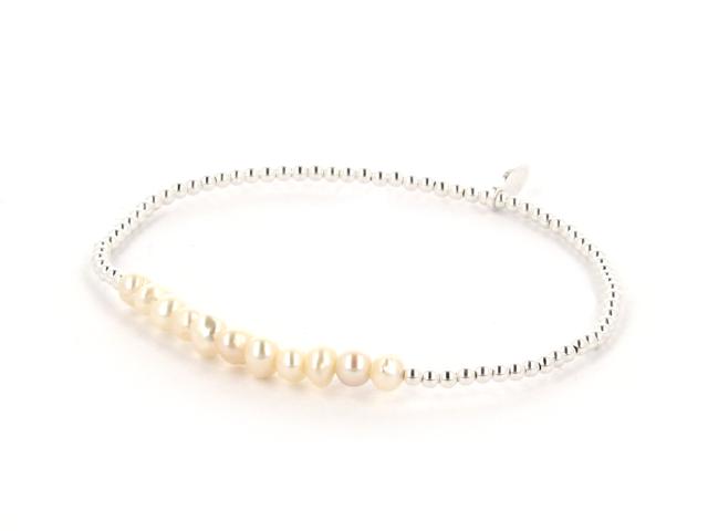 Náramek bílé říční perly + Ag925