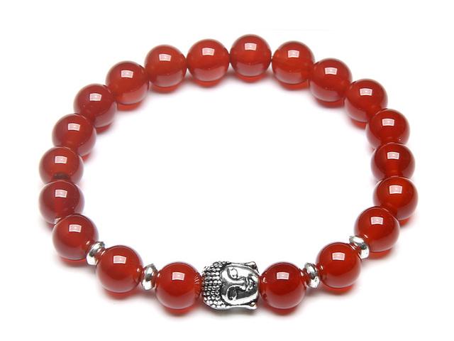 Stříbrný Buddha náramek červený achát