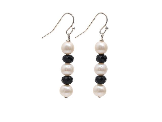 Náušnice bílé říční perly a černý křišťál