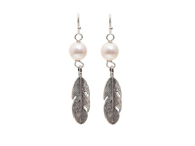 Náušnice přírodní bílá říční perla - A kvalita