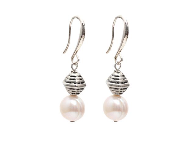 Náušnice 10-11mm přírodní bílá říční perla