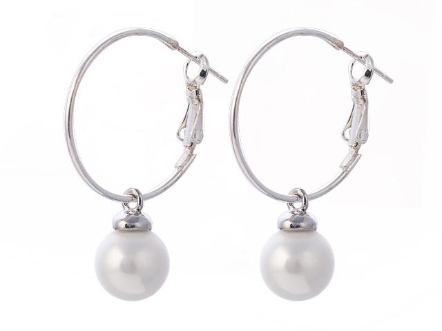 Náušnice bílá shell perla 10 mm s velkým kroužkem
