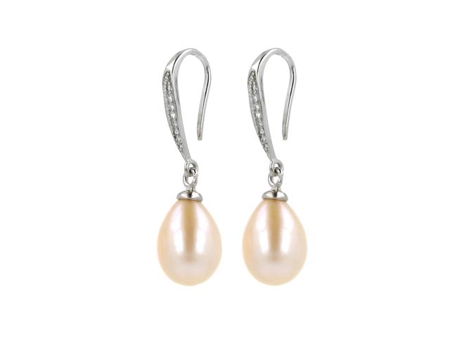 Náušnice růžová říční perla s křišťálem + Ag925