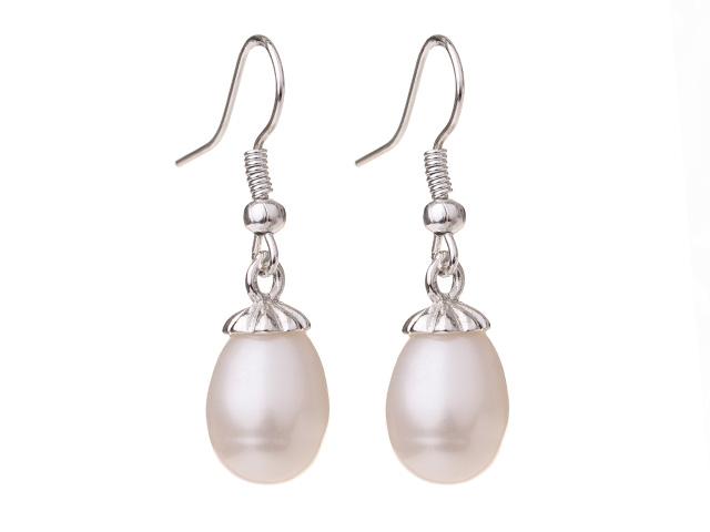 Náušnice bílá říční perla 10-11 mm