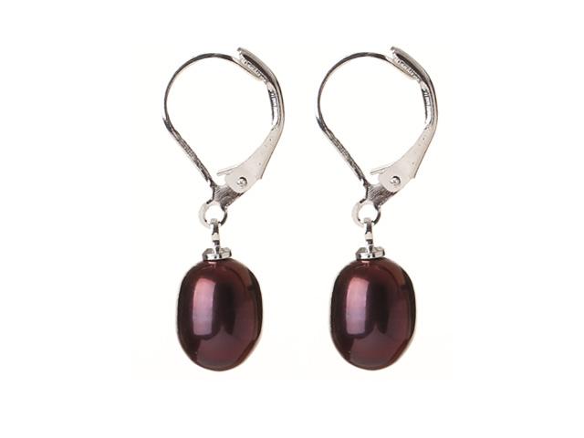 Náušnice tmavě fialová říční perla ve tvaru kapky