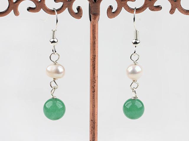Náušnice bílá říční perla a avanturín