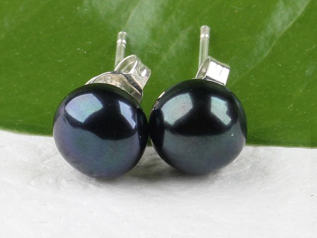 Propichovací náušnice 8-8,5mm přírodní černá říční perla