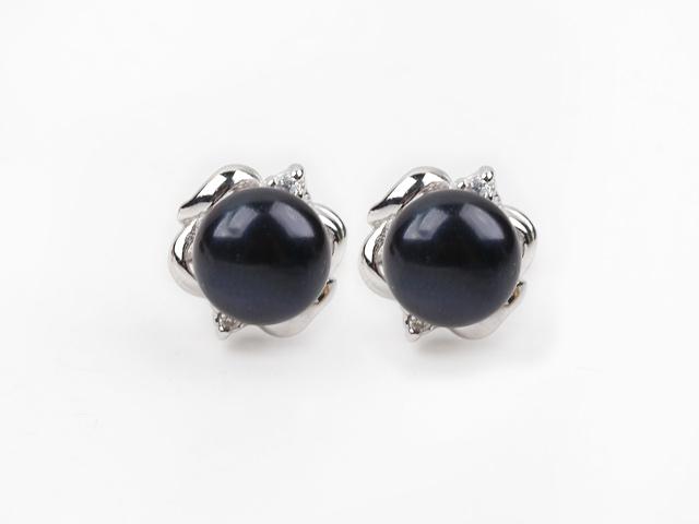 Náušnice černá říční perla 10 mm