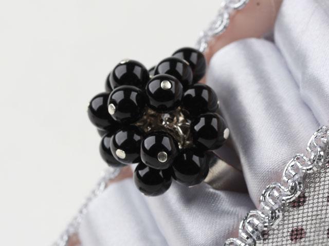 Nastavitelný prsten černý achát