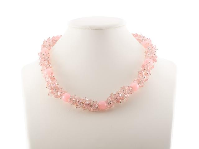 Hrubý náhrdelník jahodový křemen