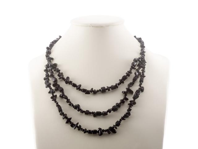 Sekaný vícepramenný náhrdelník onyx
