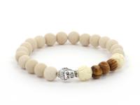 Dřevěné Buddha náramky pro páry bílý achát