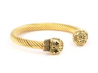 Ocelový náramek Skull - zlatý
