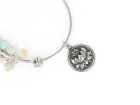 Ocelový náramek amazonit a lotos