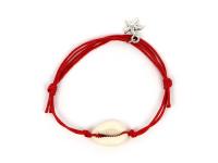 Nastavitelný náramek mušle Kauri a hvězdice - červený