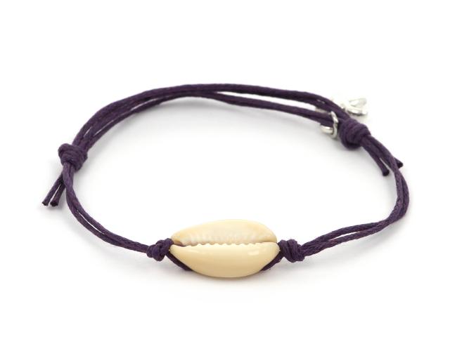 Nastavitelný náramek mušle Kauri a hvězdice - fialový