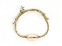 Nastavitelný náramek mušle Kauri a hvězdice - krémový