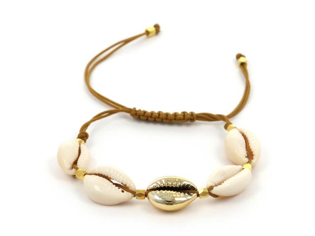 Náramek natural a zlatá mušle Kauri