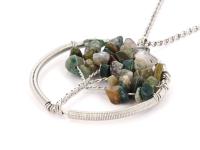 Ocelový náhrdelník s přívěskem strom života - indiánský achát