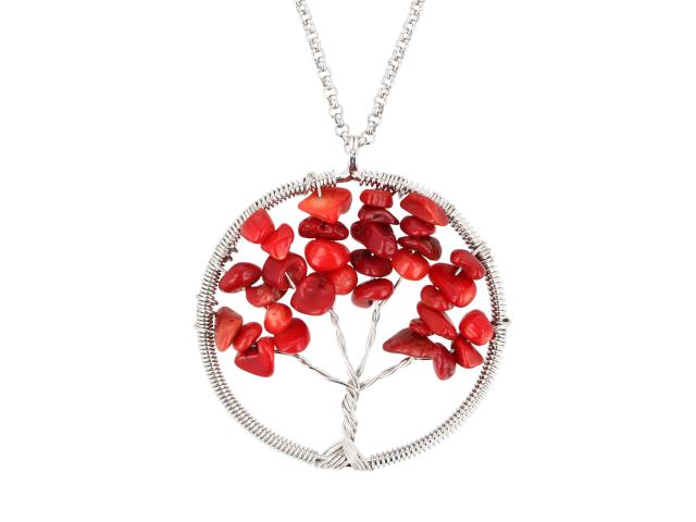 Ocelový náhrdelník s přívěskem strom života - korál